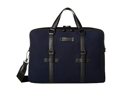 Ted Baker Bazil Wool Document Bag (Navy) Briefcase Bags