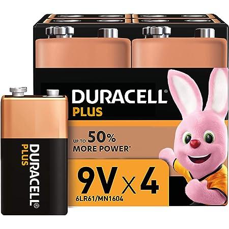 Duracell Plus, Lot de 4 piles Alcalines Type 9V, 6LR61 [Amazon exclusive]