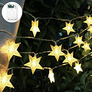 Viewpick LED Star String Lights 50 Christmas Lights Xmas Warm White Star Twinkling Fairy Lights Battery Operated Lights for Princess Castle Play Tents Princess Tent Bedroom Children Room Decoration