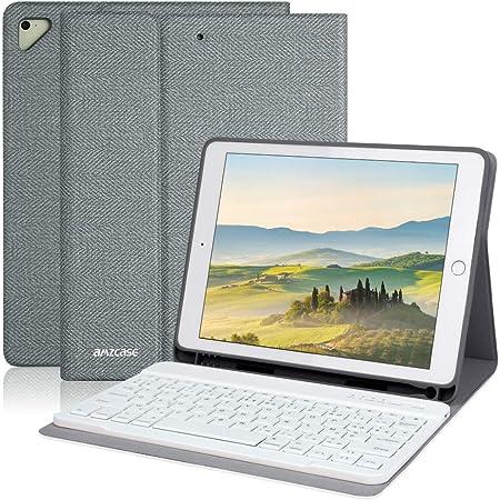 AMZCASE Clavier pour ipad 9.7'', Coque Bluetooth Clavier pour iPad 2018(6 Gen) 2017 iPad (5 Gen),iPad Pro 9.7,iPad Air/Air2,Fente Intégré du Stylet PU Étui Housse avec AZERTY Français Keyboard (Gris)