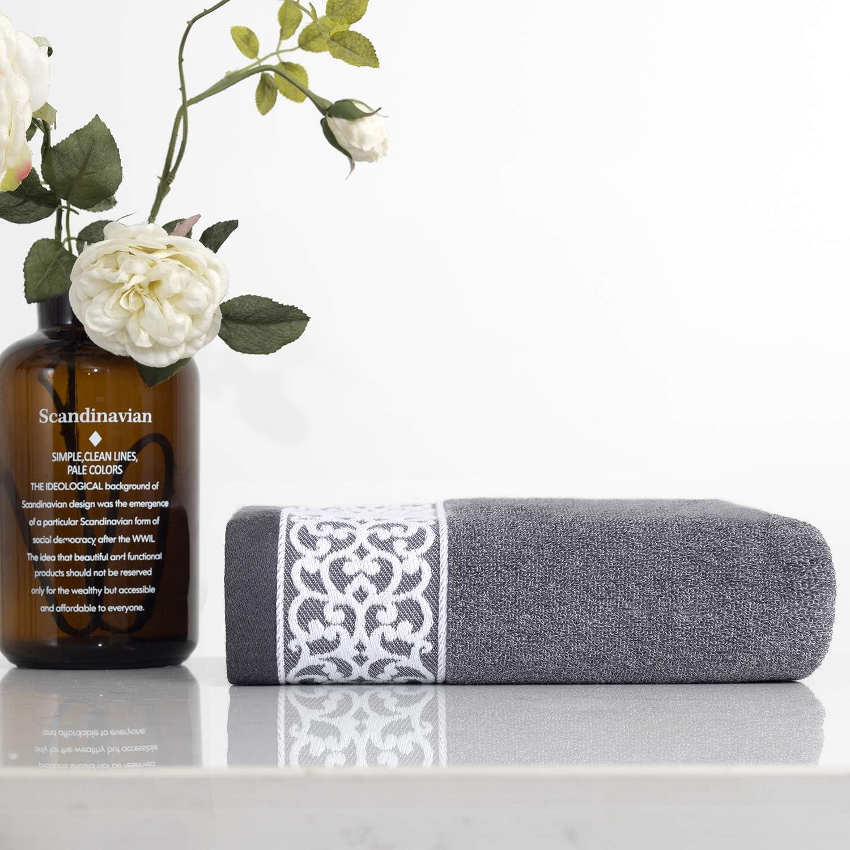 lvse- 1 Pack Luxury Euro Tulsa Mall Decorative 100% Nature Bath Max 85% OFF Towel-Gray-