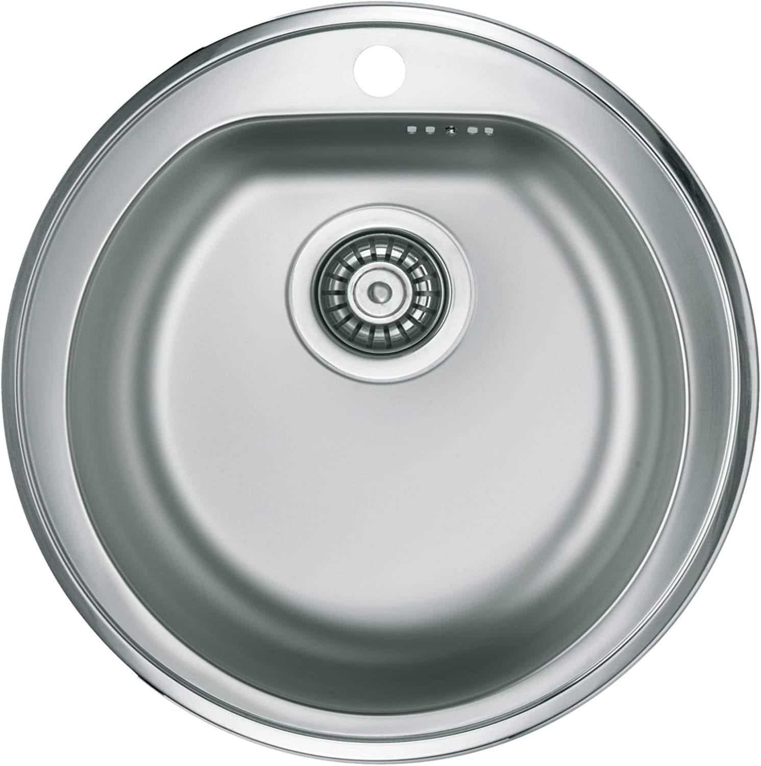 Alveus Built-in Sink Round, 18 10, Stainless Steel, with Strainer Basket, Diameter 51 cm, with 1 Drill Hole, Type  from 30, 1 Piece