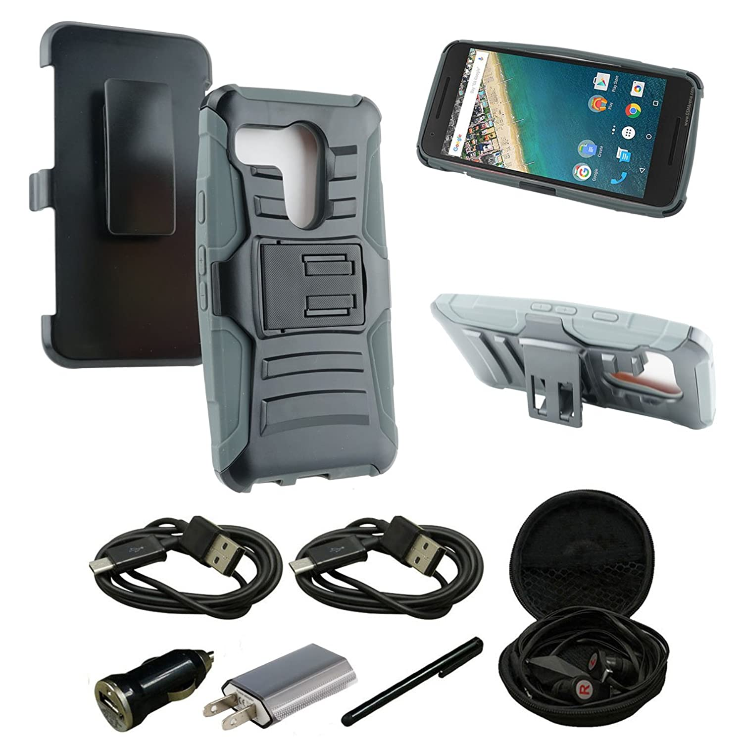 Nexus 5X Case, Mestechcorp [Heavy Duty] Armor Holster Defender Full Body Protective Hybrid Case Cover with Kickstand & Belt Swivel Clip for LG Nexus 5X - Includes Accessories (H Gray)