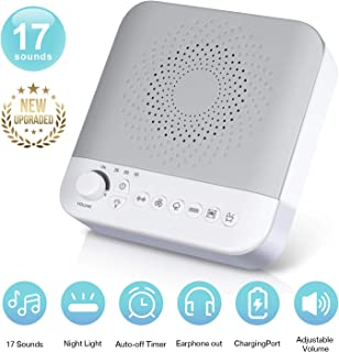 A3-01 White Noise Machine - Sound Machine for Sleeping & Relaxation - 17 Soothing Sounds - Adapter Powered - Portable Sleep Sound Therapy with LED Night Light for Home, Office or Travel (Warm Gray)