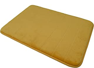 Mustard Color Memory Foam Bath Mat-Incredibly Soft and Absorbent Rug, Cozy Velvet Non-Slip Mats Use for Kitchen or Bathroo...