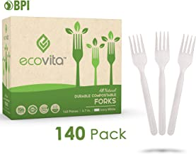 100% Compostable Forks - 140 Large Disposable Utensils (7 in.) Eco Friendly Durable and Heat Resistant Alternative to Plas...