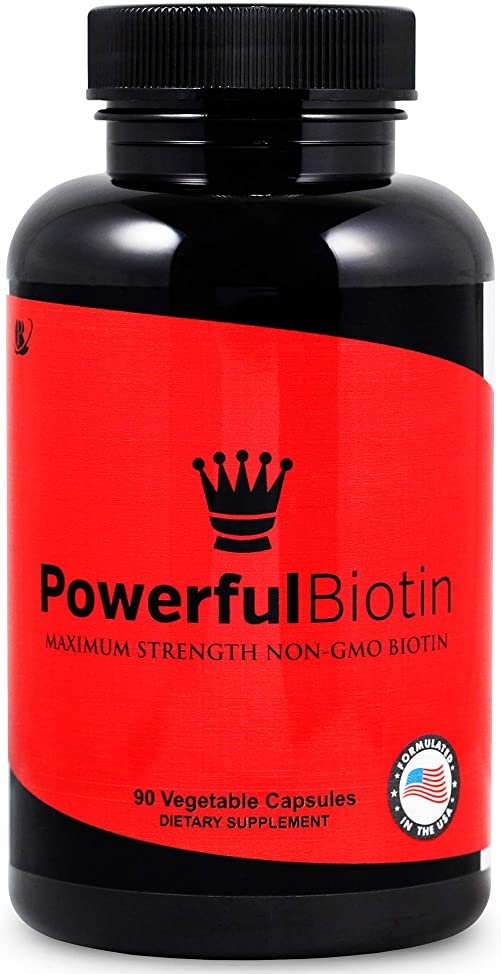 Powerful Biotin: Non-GMO, Highest Potency, Natural, Safe and Works Fast, Stop Hair Loss, Natural Hair Growth Vitamin for Men & Women, 90 Day Supply