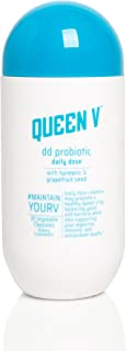 Queen V DD Probiotic for Women | pH Balanced to Support Digestive, Immunity, and Vaginal Health | Promotes Healthy Yeast & Bacteria | Natural and Effective | Turmeric + Grapefruit Seed | 30 Capsules