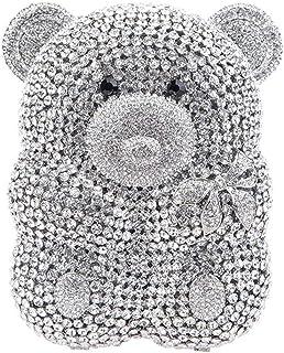 Clutches-Purses Ladies Diamante Crystal Womens Luxury Chain Evening-Bags Bling Bridal Bear