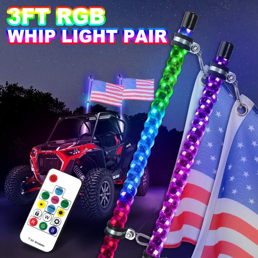 Super sale period limited 3FT Spiral RGB LED Whip Lights for Financial sales sale Rails RZR Sand Truck ATV UTV