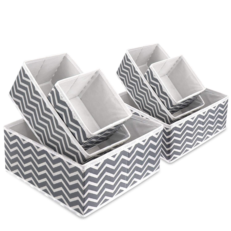 Caja de almacenamiento de tela plegable para armarios, cajones, separadores, armarios, vestidores, cajones, cubos de tela para ropa interior, calcetines, corbatas, bufandas y pañuelos: Amazon.es: Hogar