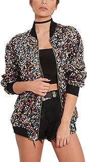 Yeokou Women's All Sequins Sparkling Short Letterman Bomber Jacket