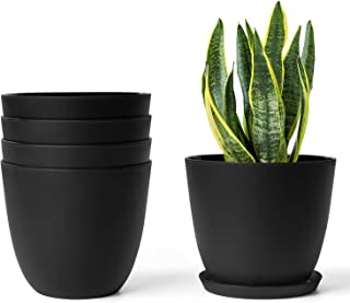 """Mkono Plastic Planters Indoor Set of 5 Flower Plant Pots Modern Decorative Gardening Pot with Drainage and Saucer for All House Plants, Herbs, Foliage Plant, and Seeding Nursery, Black, 6.5"""""""