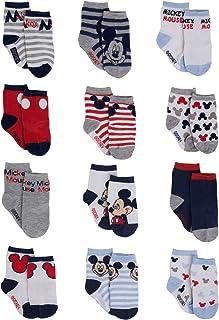 پسران دیزنی کودک میکی موس طراحی رنگی متنوع 12 جوراب جفت مجموعه ، سن 0-24 ماه