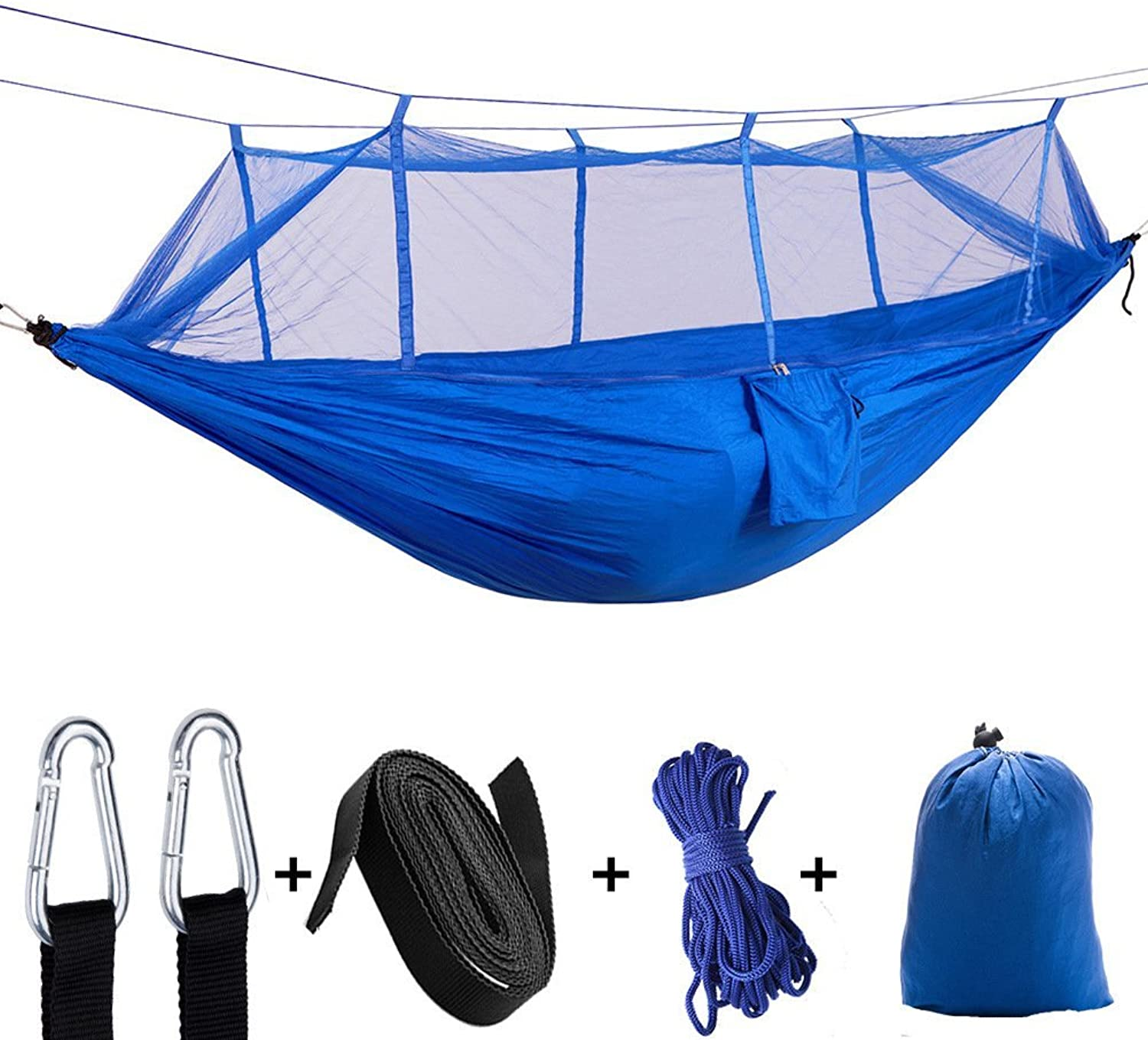 Double Camping Hammock with Mosquito Net, Lightweight Portable Parachute Hammocks for Camping, Backpacking, Survival, Travel and More,bluee