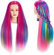 "Traininghead 26""-28"" Salon Mannequin Head Hair Styling Training Head Manikin Cosmetology Doll Head Synthetic Fiber Hair Ha..."