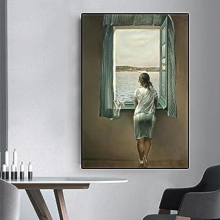 Kvinnan vid fönstret väggkonst bilder, canvasmålning Salvador Dali affisch tryck för vardagsrum väggdekoration 60 x 120 cm...