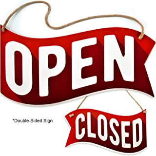 Bigtime Signs Open Closed Sign for Business Door - Reversible Double Sided with Rope for Hanging - Red Background Open and Closed Signs Decor - 1/4 inch PVC - 6.25 inch x 11.5 inch | Waving Banner Style Sign