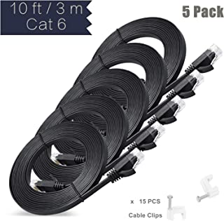 Ethernet Cable, 3 M / 10 ft 5 Pack Cat6 Black Flat Network Internet Cord with Cable Clips - Ikerall RJ45 Connector High Sp...