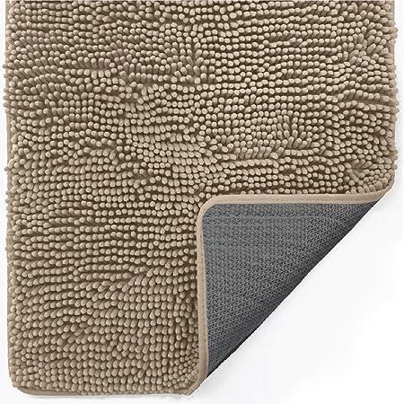 Gorilla Grip Indoor Durable Chenille Doormat, 60x36, Soft Absorbent Mat, Machine Wash Inside Mats, Low-Profile Rug Doormats for Entry, Back Door, Mud Room, Garage Floor, Home Décor Essentials, Beige