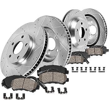 Callahan CDS02234 FRONT 356mm + REAR 330mm D/S 5 Lug [4] Rotors + Ceramic Brake Pads + Clips [fit 2012-2016 A6 Quattro]