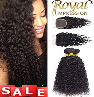 10A Brazilian Virgin Curly Hair 3 Bundles with Closure (12 14 16+10) Kinky Curly Weave Human Hair Bundles with Closure Free Part Unprocessed Virgin Remy Hair Bundles with Lace Closure Natural Color