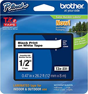 Brother Tze-231 Black on White, 12mmX8meters laminated Label Tape.