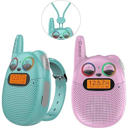 QNIGLO Q136 Walkie Talkie Niños Recargable,Radio FM Alcance de 2Km Ojos LED Parpadeantes Correa Portátil de Reloj,Montar en Bicicleta Caminar Acampar Correr,Mejor Regalo Juguete(Q136_Mixed)