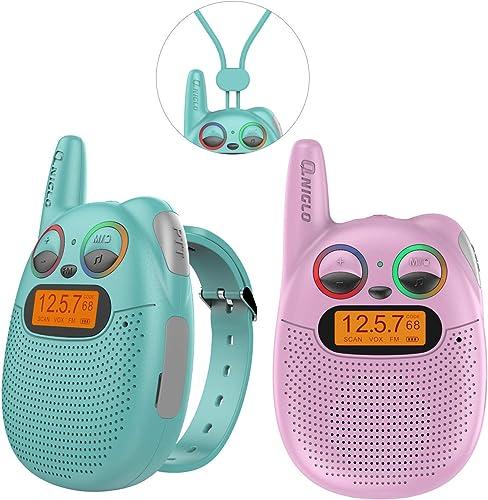 QNIGLO Q136 Talkie Walkie Enfants Rechargeable, Radio FM 2Km de Portée Clignotant LED Yeux Montre Portable Talkie-wal...