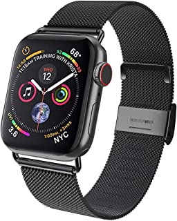 AMATOP10 Compatible for Apple Watch Band 38mm 40mm 42mm 44mm, Stainless Steel Mesh Sport Loop with Adjustable Magnet Clasp Strap for iWatch Series 5 4 3 2 1 (Black, 42/44mm)