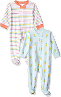 Amazon Essentials Girls' Infant 2-Pack Sleep and Play