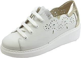 632c3a10d1767a Melluso Walk Techno Sneakers Sportive per Donna in Pelle Traforata Bianca e  Bronzo Zeppa Alta