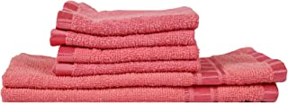 Eurospa Set of 6 Cotton Hand & Face Towel Set Pink