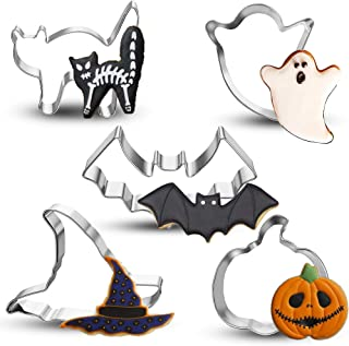 Bonropin 5PCS Halloween Cookie Cutters Set Stainless Steel Cutters Molds Perfect for Making Pumpkin,Ghost, Witch's Hat, Cat and Bat Cookie Cutter Steel