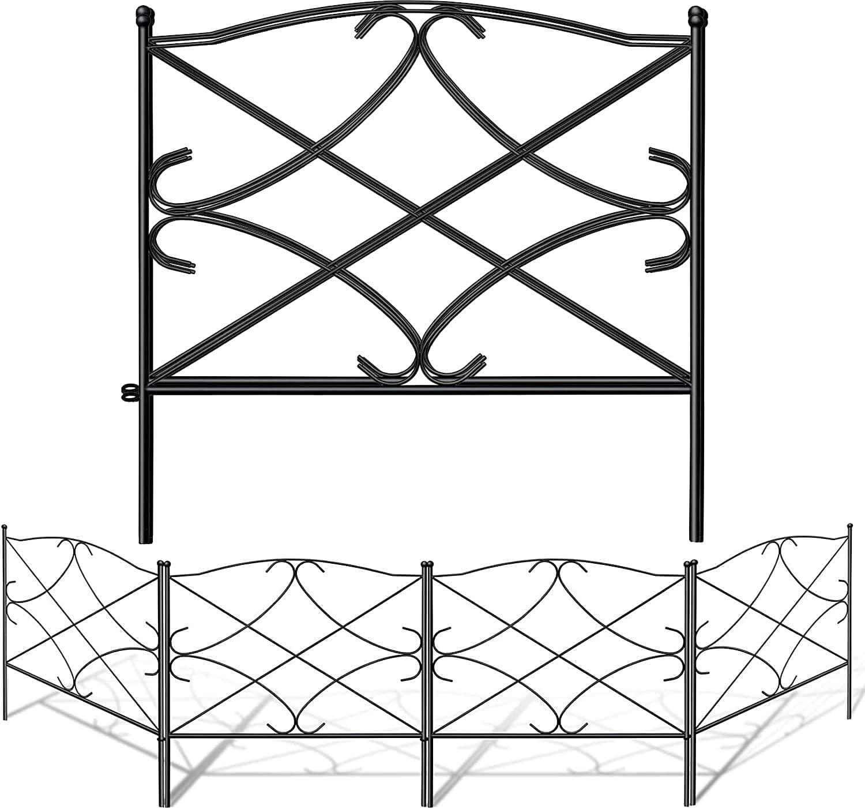 Amagabeli 60CM X 300CM Vallas Decorativas para Jardín de Hierro Set de 5 Valla Metalica Rigida Hierro para Perros Jardín Metalicas Negro Barrera de Animales