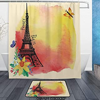 SCOCICI 3D Printed Waterproof Shower Curtain Set of 2 Romantic Floral Watercolor Image of Eiffel with Historical French 60