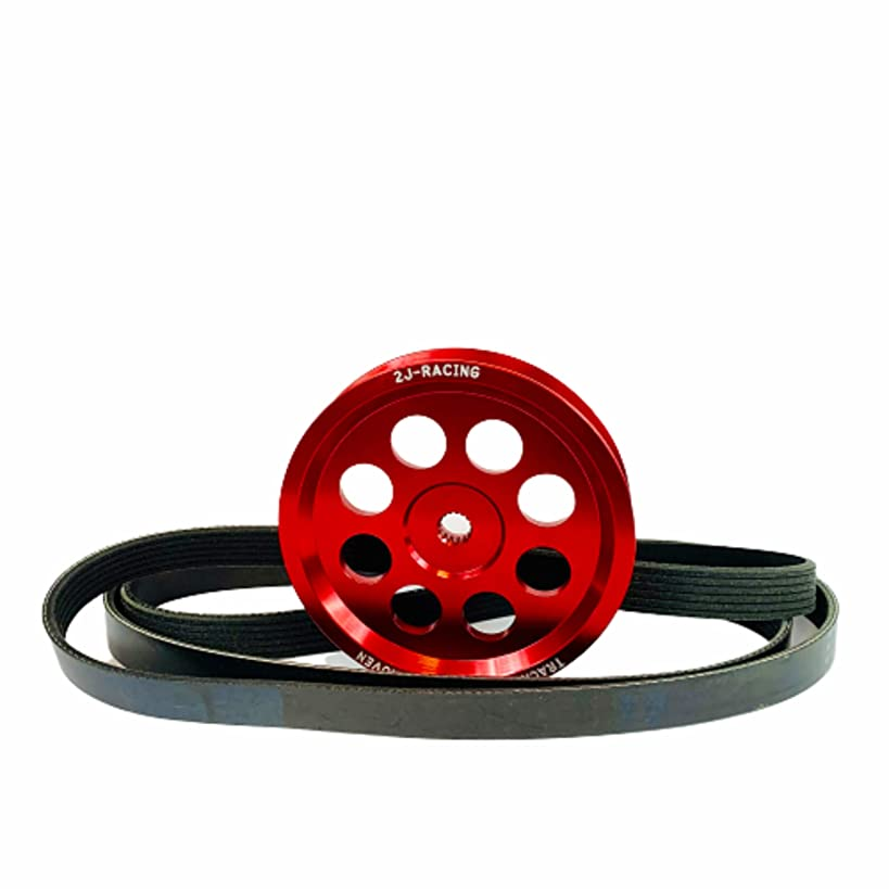2J-Racing Nissan Sentra Lightweight Racing Power Steering Pulley 2.5L, QR25DE, Fits Sentra, Altima, Frontier (Red)