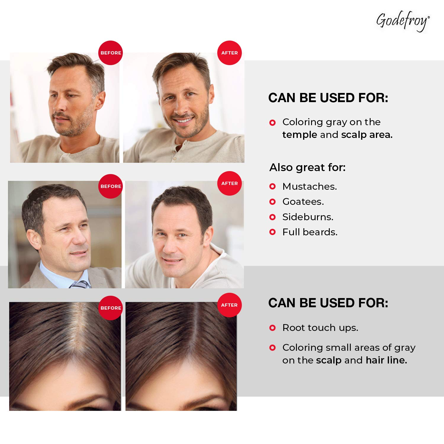 Godefroy Hair Color Kit for Spot Coloring, Covers Up Gray Hairs, Medium Brown, 4-Application Kit : Beauty