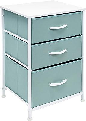 Sorbus Nightstand Storage Organizer with 3 Drawers - Kids Girls, Boys Bedroom Furniture Storage Chest for Clothes, Closet Organization - Steel Frame, Wood Top, Fabric Bin (Pastel Aqua)
