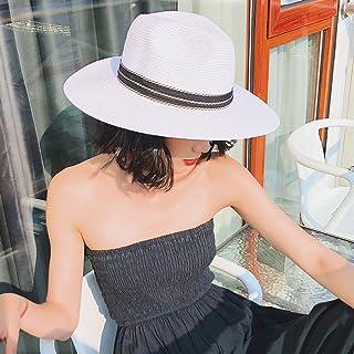 Sombrero de Paja de Panamá Damas de ala Ancha Sombra de Verano Sombrero para el Sol Playa de Vacaciones Gorra de Playa Empaquetado Ajustable Mujeres Visor Sombreros (Color : Blanco)