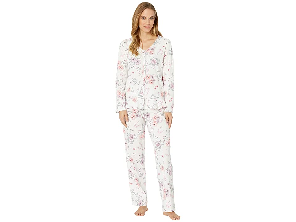 Carole Hochman Soft Jersey Long Sleeve Pajama Set (Multi Rose Floral) Women