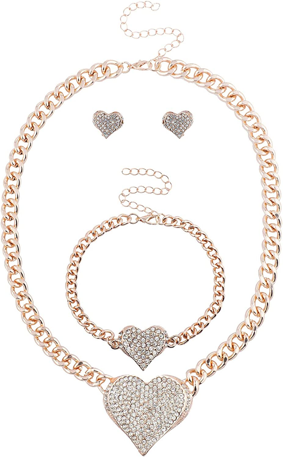 Lux Accessories Bling Heart Chain Earring Bracelet Necklace Jewelry Gift Set 3PC (Rose Gold)
