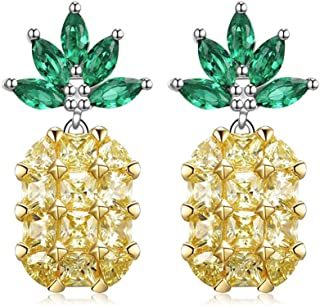 Pineapple Yellow and Green CZ Earrings - Ginger Lyne Collection
