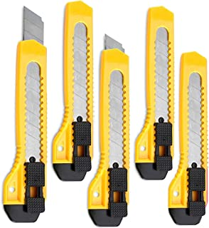 Katzco Retractable Utility Knife - 5 Pack 6 Inch Manual-Lock Snap Off Blade, Large Size Plastic Body – 8 Points Snap Blade - Heavy Duty Stainless Steel Blade