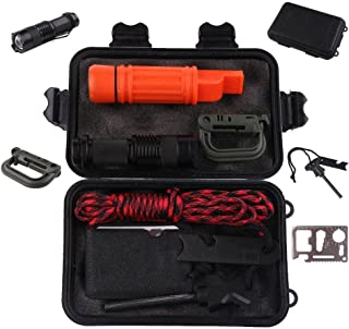 Ultimate Survival Kit Set 10pcs with Fishing Tools, HMMS Portable Multi Wilderness SOS Emergency Gear Kits for Men & Kids Camping Band, Hunting, Fishing, Hiking, Traveling