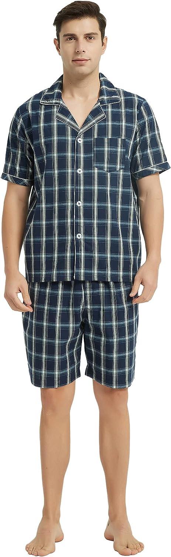 Vulcanodon Mens Cotton Pajama Set Short Sleeve, Button Down Pajama Set for Men Plaid Men's Sleepwear