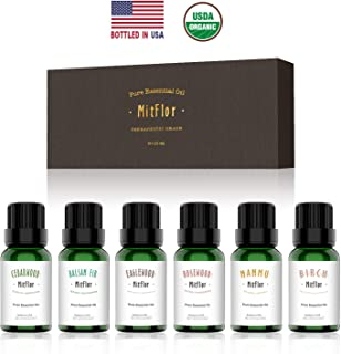 Woody Essential Oils, MitFlor 100% Pure Organic Aromatherapy Therapeutic Woody Oils Kit Gift for Diffuser Humidifier Massage. Cedarwood, Birch, Balsam fir, Rosewood, Eaglewood, Nanmu, 6×10ml