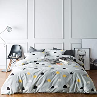 SUSYBAO 3 Pieces Duvet Cover Set 100% Natural Cotton Queen Size Black and Yellow Half Dots Print Bedding with Zipper Ties 1 Duvet Cover 2 Pillowcases Hotel Quality Soft Breathable Comfortable Durable