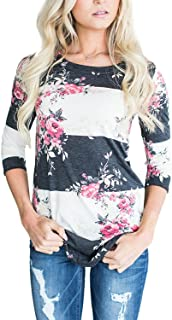Sponsored Ad - CEASIKERY Women's Blouse 3/4 Sleeve Floral Print T-Shirt Comfy Casual Tops for Women 003