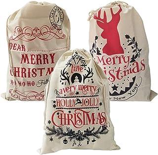 "GKanMore 3Pcs Santa Sacks Large Christmas Drawstring Bags 26""x19"" Drawstring Linen Bag for Candy Storage (Style 4, Pack of 3)"